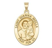 Saint Gianna Beretta Molla Oval Religious Medal   EXCLUSIVE