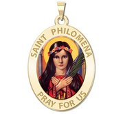 Saint Philomena Oval Religious Color Medal  EXCLUSIVE