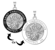 Saint Christopher Round Religious Medal  w  Black Enamel or White Enamel    EXCLUSIVE
