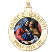 Saint Elizabeth  Mary s Cousin  Round Religious Medal Color