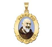 Padre Pio   Scalloped OVAL  Color EXCLUSIVE