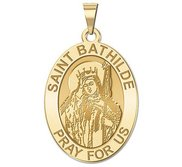 Saint Bathilde Oval Religious Medal  EXCLUSIVE
