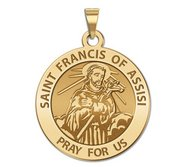Saint Francis of Assisi Traditional Round Religious Medal  EXCLUSIVE