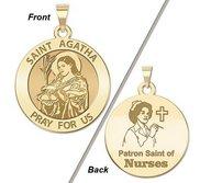 Saint Agatha  Nurse  Round Religious Medal   EXCLUSIVE