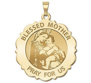Blessed Mother  Virgin Mary Scalloped Round Religious Medal   EXCLUSIVE