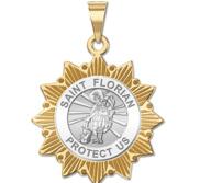 Saint Florian Two Tone Sun Border Religious Medal  EXCLUSIVE