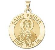 Saint Emilia Round Religious Medal   EXCLUSIVE