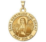 Saint Gertrude The Great Round Religious Medal     EXCLUSIVE