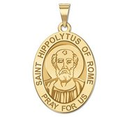 Saint Hippolytus of Rome OVAL Religious Medal   EXCLUSIVE