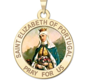 Saint Elizabeth of Portugal Round Religious Medal Color