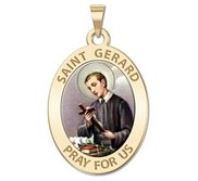 Saint Gerard Oval Religious Medal   Color EXCLUSIVE