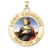 Saint Catherine of Alexandria Round  Religious Medal    Color EXCLUSIVE