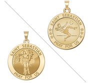 Soccer   Saint Sebastian Doubledside Sports Religious Medal  EXCLUSIVE