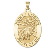 Saint Florian Oval Religious Medal   EXCLUSIVE