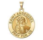 Saint Ansegise Roundl Religious Medal  EXCLUSIVE