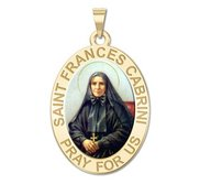 Saint Frances Cabrini Oval Religious Medal   Color EXCLUSIVE