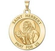 Saint Herbert Round Religious Medal   EXCLUSIVE