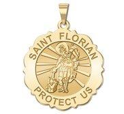 Saint Florian Scalloped Round Religious Medal   EXCLUSIVE