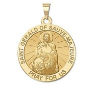 Saint Gerald of Sauve Majeure Round Religious Medal  EXCLUSIVE