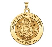 Saint Francis of Assisi Round Religious Medal  EXCLUSIVE