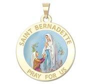 Saint Bernadette Round Religious Medal   Color EXCLUSIVE