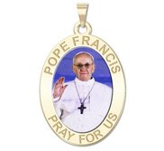 Pope Francis Religious Medal  Oval Color Engraved  EXCLUSIVE