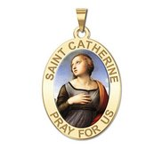 Saint Catherine of Alexandria OVAL Religious Medal   Color EXCLUSIVE