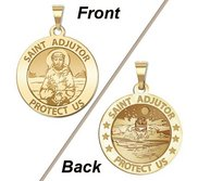 Saint Adjutor Doubles Sided Male Swimmer Round Religious Medal    EXCLUSIVE