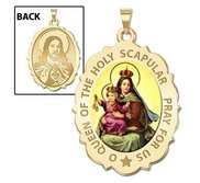 Scapular Religious Medal Scalloped OVAL  Color EXCLUSIVE