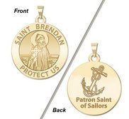 Saint Brendan Double Sided Sailors Round Religious Medal    EXCLUSIVE