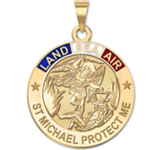 Saint Michael LAND SEA AIR Round Religious Medal  w  Red White   Blue Enamel  EXCLUSIVE