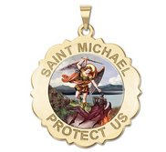 Saint Michael Scalloped Round Religious Medal   Color EXCLUSIVE