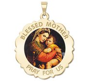 Blessed Mother  Virgin Mary Scalloped Round Religious Medal   Color EXCLUSIVE