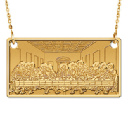 The Last Supper Rectangle Pendant with Religious Medal  EXCLUSIVE   18  Box Chain Included