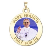 Pope Francis Religious Medal Round Color  EXCLUSIVE