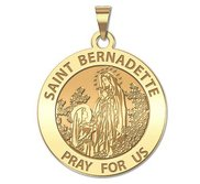 Saint Bernadette Round Religious Medal   EXCLUSIVE