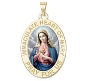 Immaculate Heart of Mary Oval Religious Medal  Color EXCLUSIVE