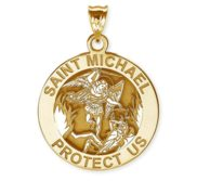 Saint Michael Round Religious Medal   EXCLUSIVE
