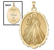 Divine Mercy Doubled Sided Scalloped Oval Religious Medal  EXCLUSIVE