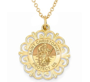 Saint Christopher Round Filigree Religious Medal   EXCLUSIVE