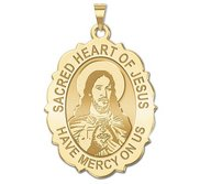 Sacred Heart of Jesus Scalloped Religious Medal   EXCLUSIVE