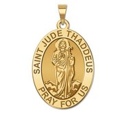 Saint Jude Religious Oval Medal   Full Figure   EXCLUSIVE