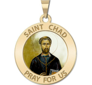 Saint Chad Round Religious Medal Color