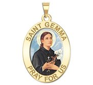 Saint Gemma Galgani Oval Medal   Round  Color EXCLUSIVE
