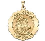 Saint George Scalloped Round Religious Medal  EXCLUSIVE