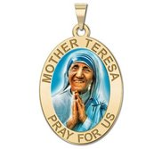 Mother Teresa   Oval Religious Medal  Color EXCLUSIVE