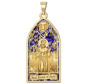 Saint Francis of Assisi   Stained Glass Religious Medal  EXCLUSIVE
