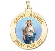 Saint Agnes of Rome Round Religious Color Medal   EXCLUSIVE
