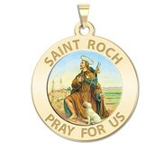 Saint Roch Religious Medal  Color EXCLUSIVE