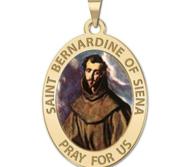 Saint Bernadine Of Siena Oval Religious Medal Color